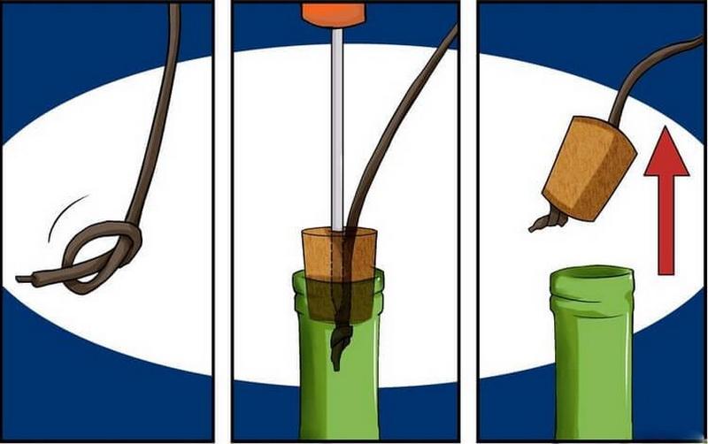 Выдернуть пробку шнурком