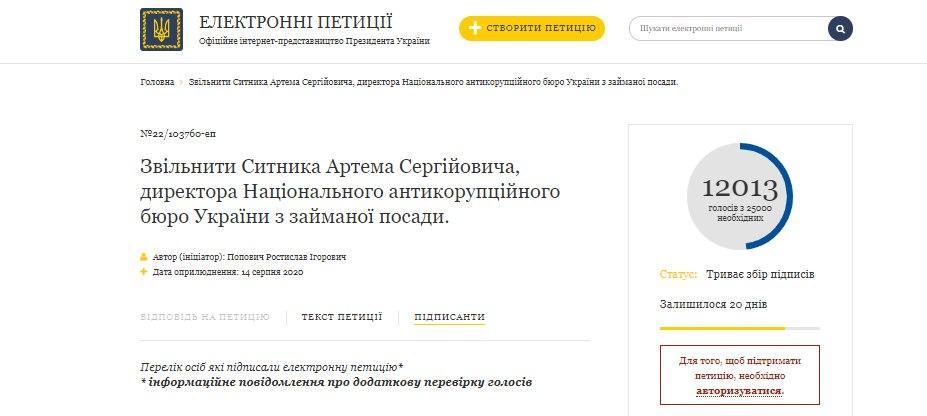 ОП не засчитывает половину голосов под петицией за отставку Сытника - фото 1